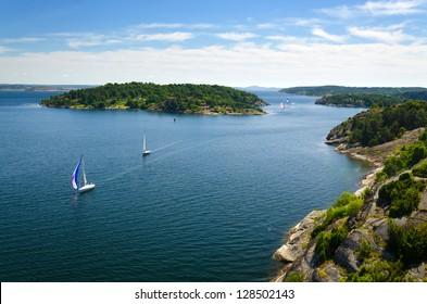 Swedish sea archipelago with sailboats