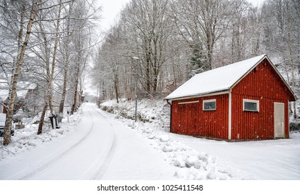 Swedish service house in winter time