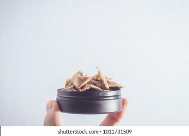 Swedish Snuff (Snus in swedish) in studio light