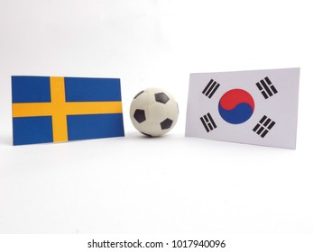 Swedish and South Korean flag with football ball isloated on white background