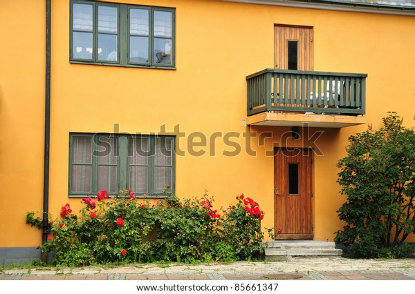 Swedish Village Alley With Doors and Plants, Ystad.