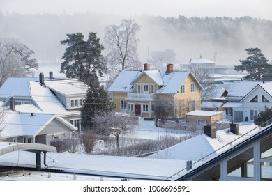 Swedish village covered in snow.