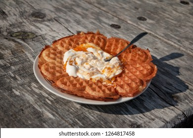 swedish waffles with cloudberry jam