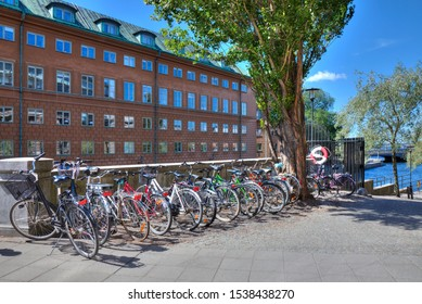 The swedish way of life, line of bicycles in Stockholm