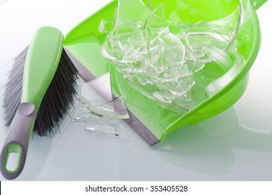 Sweep broken piece of glass