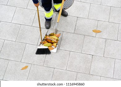 sweeper  worker of  municipality service sweeping leaves on city street