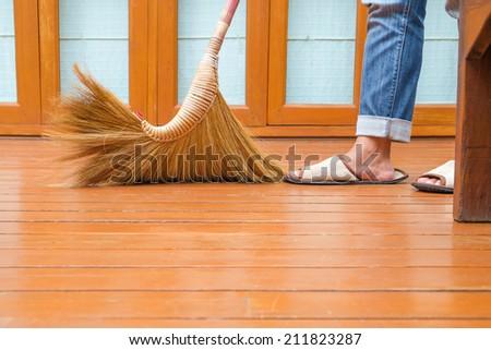 Sweeping Dust On Wood Floor Closeup Stock Photo Edit Now 211823287