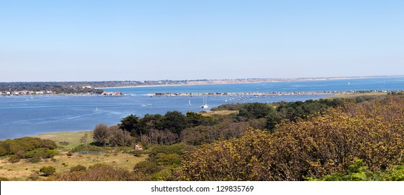 A sweeping panorama of the Mudeford sandspit from Hengistbury Head.