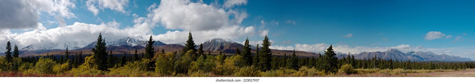 Sweeping panorama of St. Elias front range from Kluane National Park, Yukon, Canada