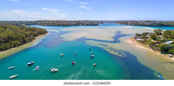 Sweeping scenic views across Port Hacking, South Sydney Australia on a beautiful summer day