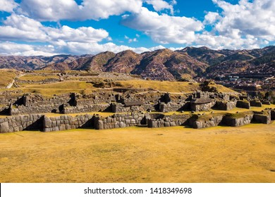 A sweeping view of the incredible Inca ruins of Saqsaywaman which is just a short walk from the centre of Cusco, Peru, this was the site of the last battle for the Incas against the Spanish