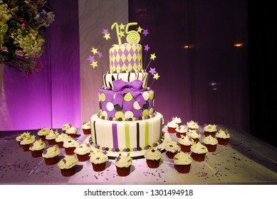 Sweet 15 Birthday Cake Surrounded By Cream Desserts All Decorated With Purple And Lime Green Stars
