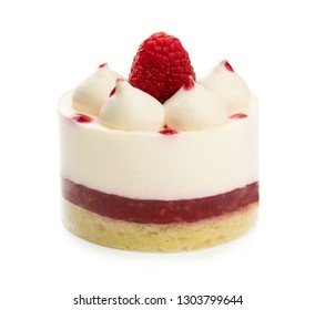 Sweet airy cake with raspberries and cream isolated on white background