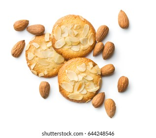 Sweet almond cookies isolated on white background.