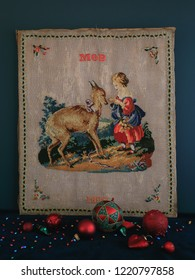 Sweet Antique Sampler About Love, Small Girl Feeding a Roe Deer, Christmas Concept, Made in 1892