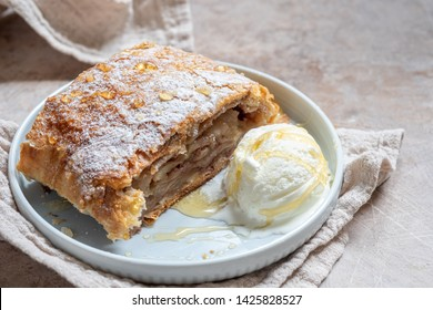 Sweet apple strudel with vanilla ice cream