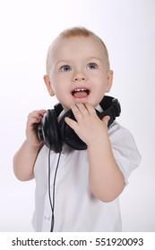 sweet baby with headphones portrait