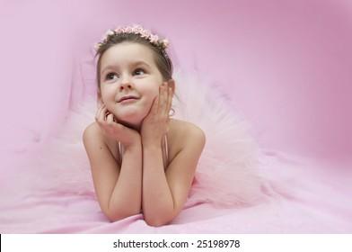 Sweet ballerina girl in pink
