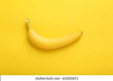 Sweet banana on the yellow background
