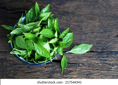 sweet basil leave in a cup on wooden table.
