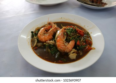 Sweet basil Shrimp and squid, Thailand Food