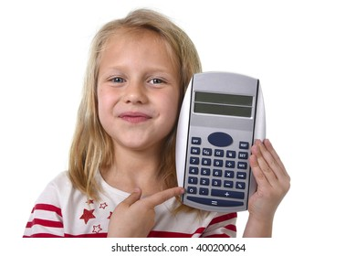 sweet beautiful female child 6 to 8 years old with cute blonde hair and blue eyes holding calculator isolated on white in education and primary or junior school supplies concept