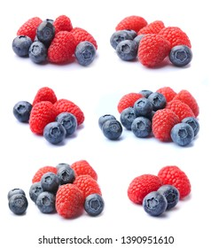 Sweet berries mix isolated on white background. Collage of ripe raspberry and blueberries.