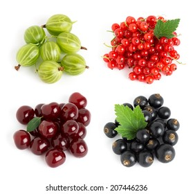 Sweet berries on white background. Blackcurrant, gooseberry, cherry and redcurrant closeup