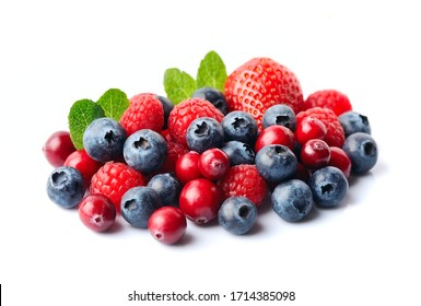 Sweet berry with mint isolated on white backgrounds. Strawberry, bilberry, cranberry, raspberry.