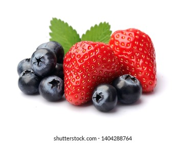 Sweet berry of strawberry and blueberries isolated on white backgrounds.