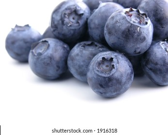 sweet bilberries on white background