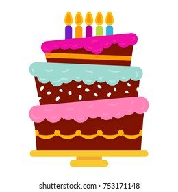 Sweet birthday cake with five burning candles. Colorful holiday dessert. Celebration background.