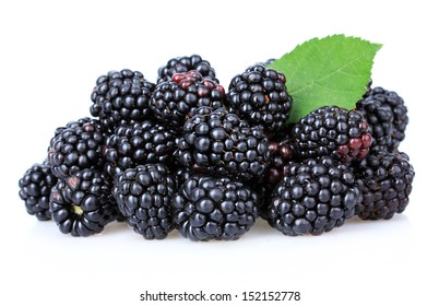 Sweet blackberries isolated on white
