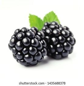 Sweet blackberries on the white background.