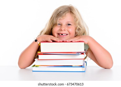 sweet blond girl and a pile of books
