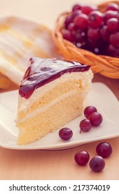 Sweet blueberry cake with grapes