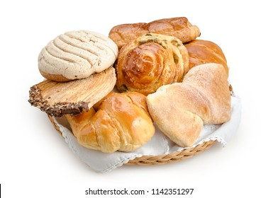 Sweet bread assorted traditional Mexican bakery isolated on white background