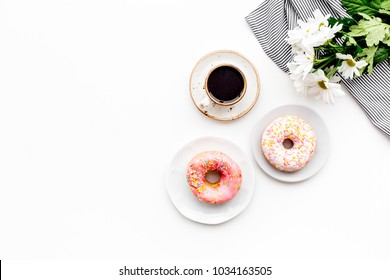 Sweet breakfast for a loved one. Coffee, dessert, flower on white table top view copy space