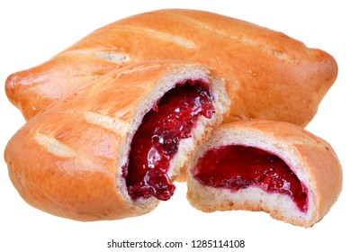Sweet bun with berry filling isolated on white background.