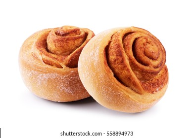 sweet bun with cinnamon isolated on white background