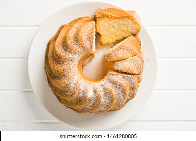 Sweet bundt cake on plate. Top view.