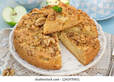 Sweet cake with apples and walnuts for dessert