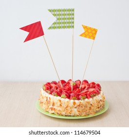 Sweet cake with decorations on a table