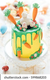 Sweet cake with Easter decoration,selective focus