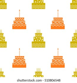 Sweet Cakes Silhouettes Isolated on White Background. Seamless Pattern.