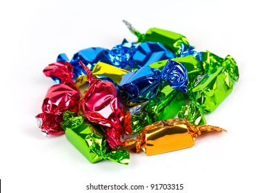 sweet candies on the white background