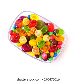 sweet candy in glass transparent plate