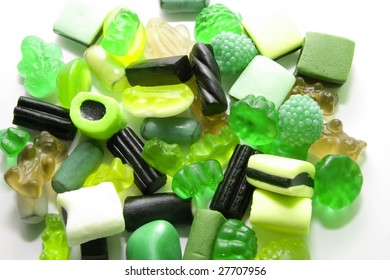 sweet candy gum background in green