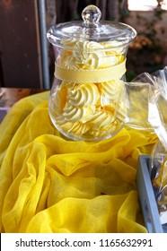 Sweet candy treats in glass jar as festive decoration