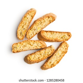 Sweet cantuccini biscuits. Italian biscotti isolated on white background. Top view.